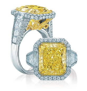 Yellow diamond rings in Palm Desert, California on El Paseo