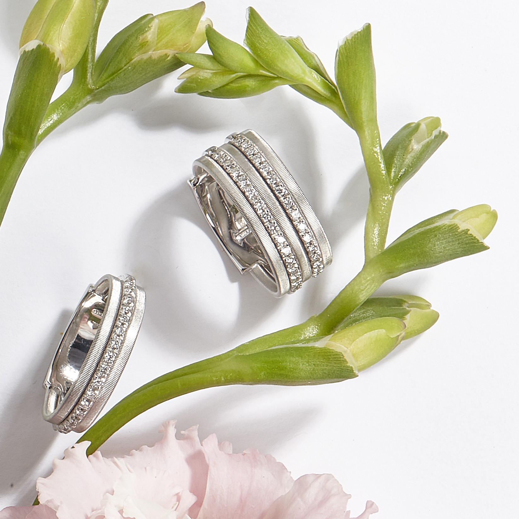 Marco Bicego white gold rings in Palm Desert, California on El Paseo