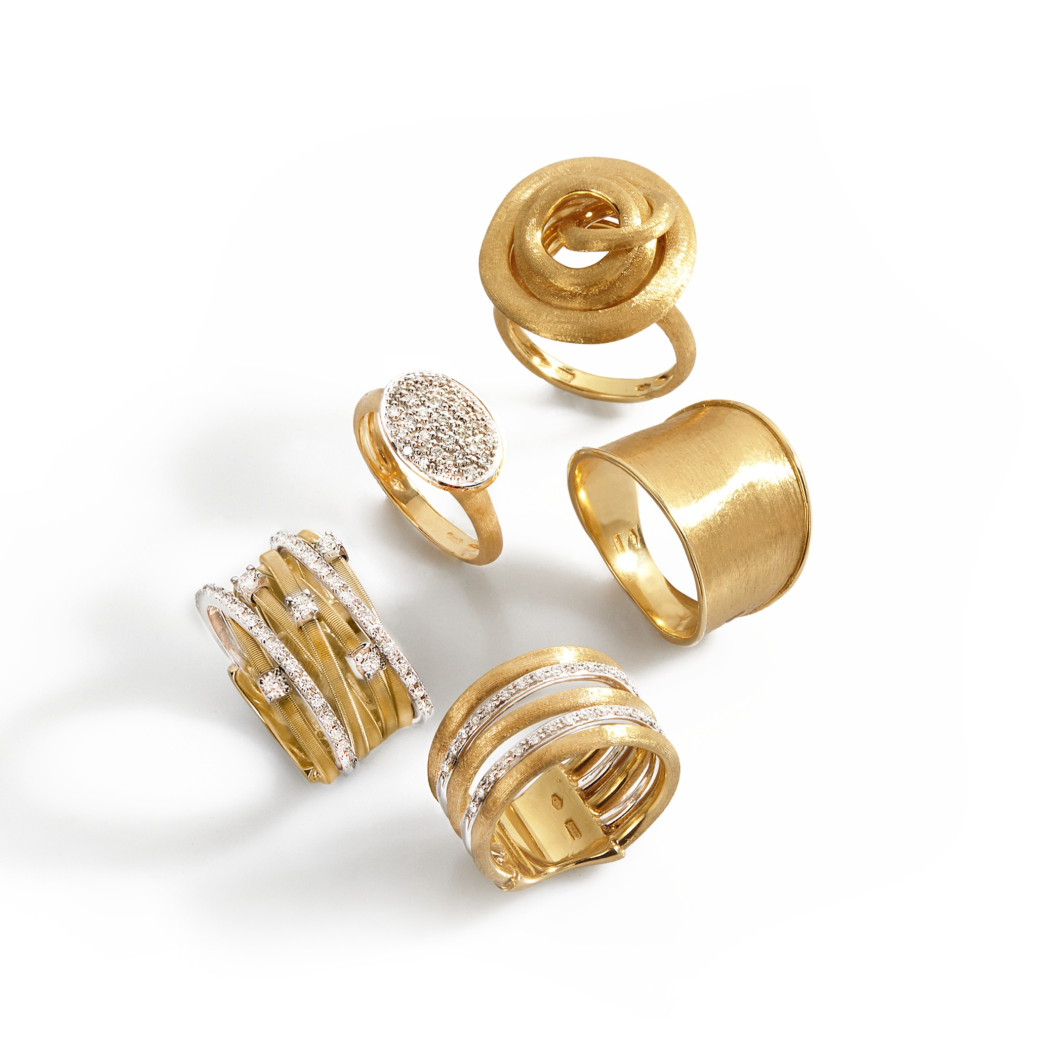Gold rings by Marco Bicego on El Paseo in Palm Desert