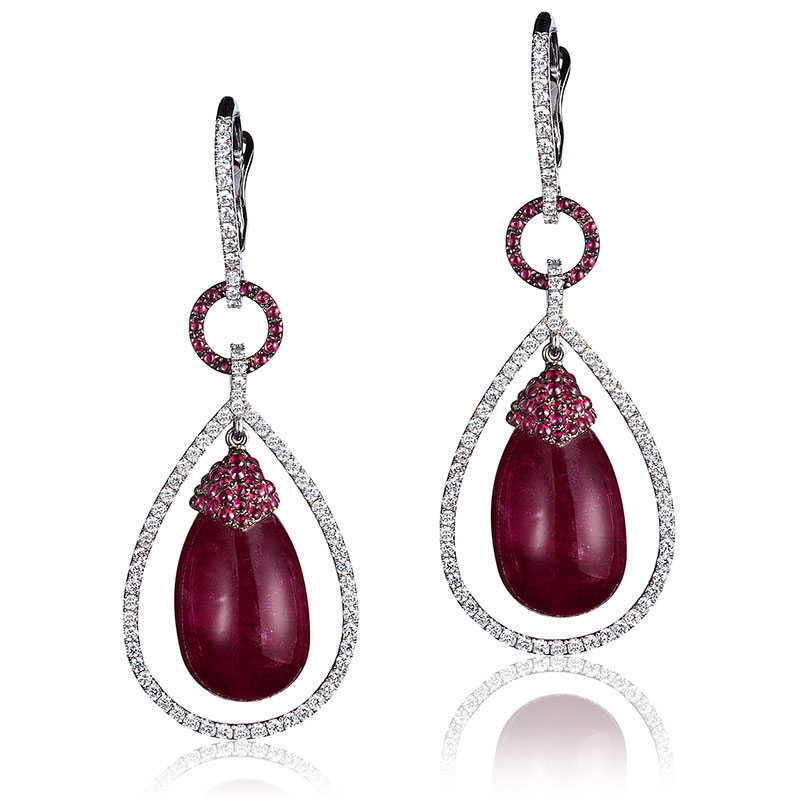 Ruby earrings with diamonds on El Paseo in Palm Desert