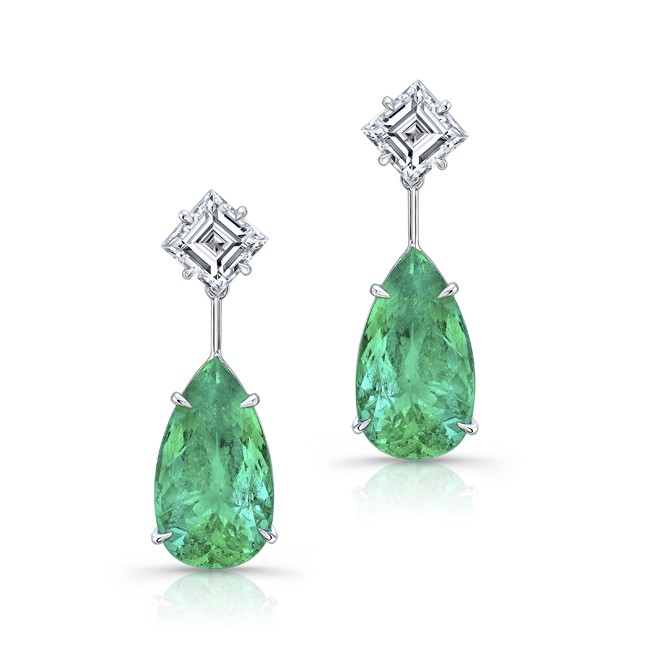 Emerald and diamond earrings on El Paseo in Palm Desert, California