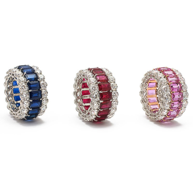 Sapphire, ruby, and pink sapphire gemstone ring in Palm Desert
