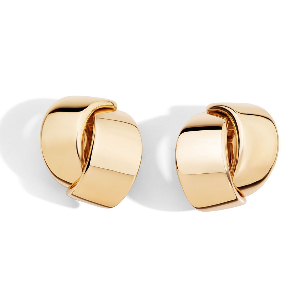 Gold earrings in Palm Desert on El Paseo by Vhernier